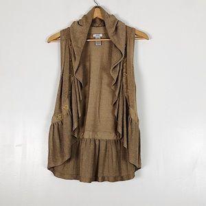 Vintage Cache Linen Ruffle Vest Sz M